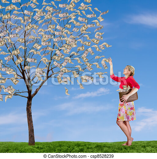 a woman reaching up picking money off a tree - csp8528239