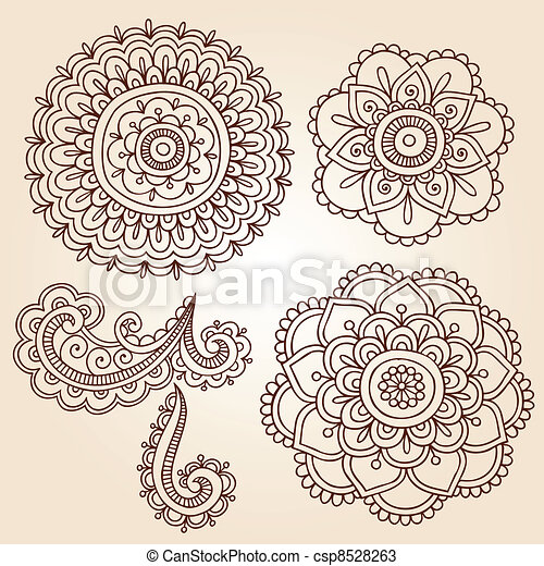 Henna Flower Mandala Vector Designs - csp8528263