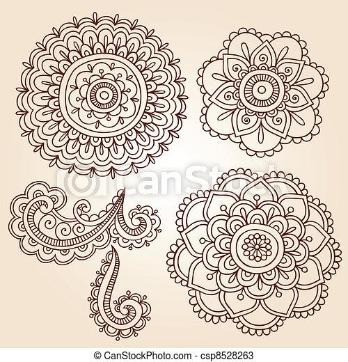 Henna Flower Mandala Vector Designs - csp8528263