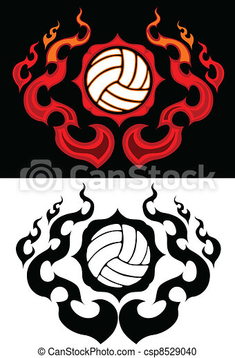 Volleyball with Flaming Border  - csp8529040