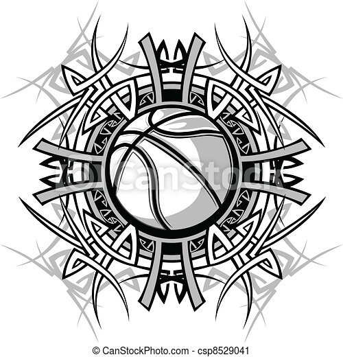 Basketball with Tribal Borders - csp8529041