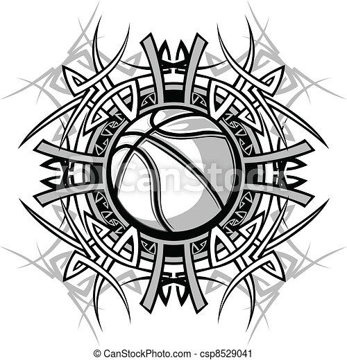 Basketball with Tribal Borders  - csp8529041
