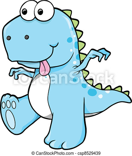 Silly Goofy Blue Dinosaur T-Rex  - csp8529439