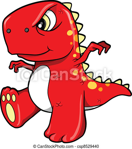 Vector - Angry Mean Red Dinosaur T-Rex - stock illustration, royalty ...