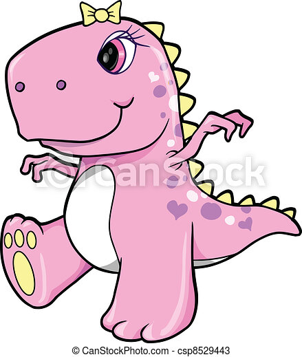 Cute Pink Girl Dinosaur T-Rex - csp8529443