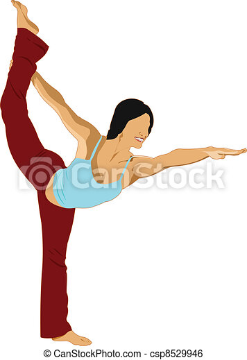 Woman practicing Yoga exercises. V - csp8529946