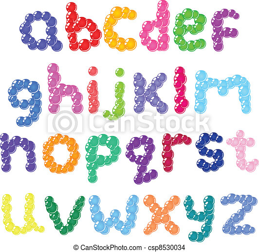 Lower case bubbles alphabet - csp8530034