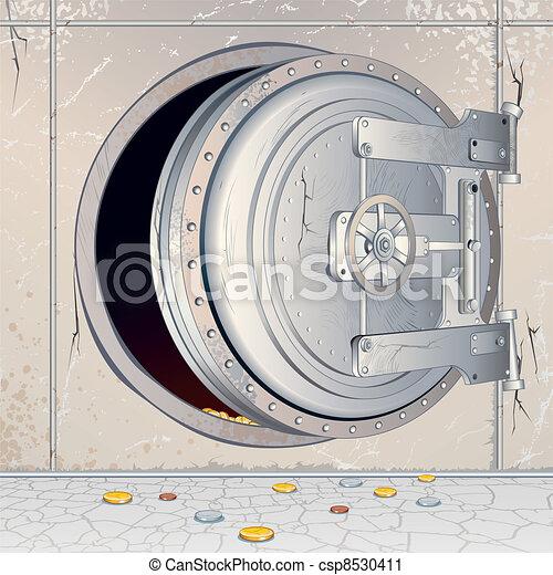 Opened Empty Bank Storage - csp8530411
