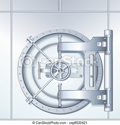 Illustration of Bank Vault Door - csp8530421
