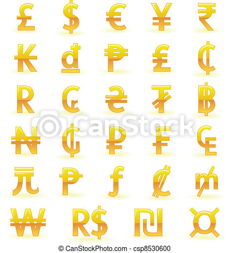 Golden currency symbols - csp8530600
