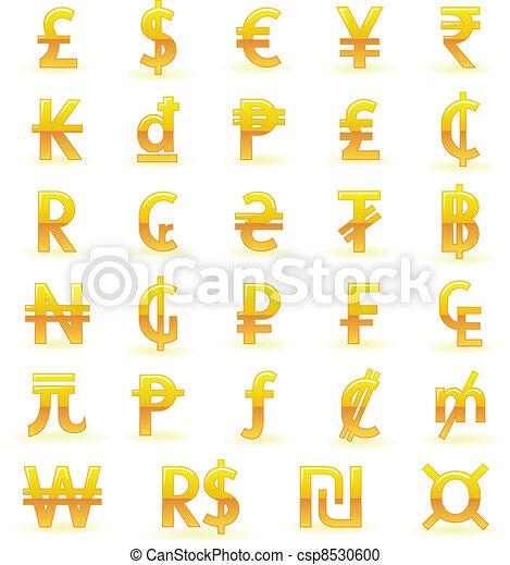 Golden currency symbols - csp8530600