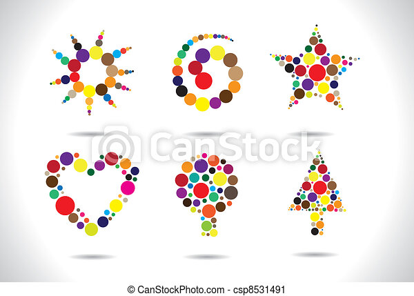 Colorful circular shapes arranged to form symbols - csp8531491