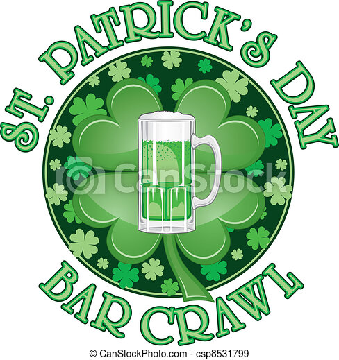 St. Patricks Day Bar Crawl Design - csp8531799