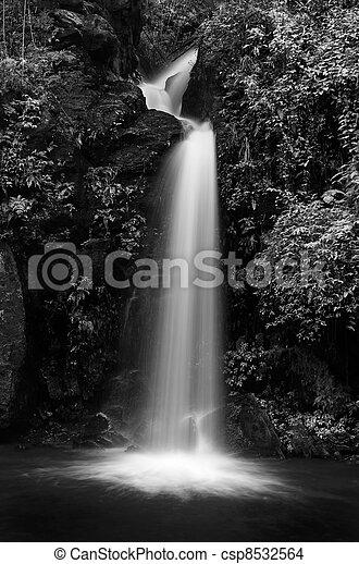 Mon Tha Than waterfall Black and White - csp8532564