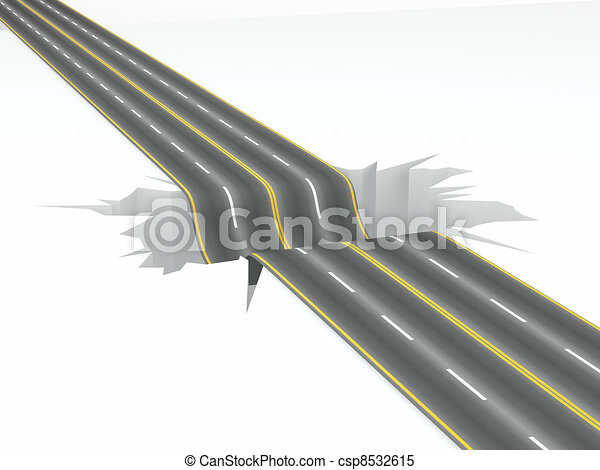 Stock Illustrations of Hole on the road. Concept image. 3d ...