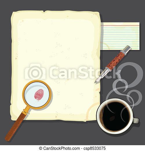 Murder mystery detectives desk - csp8533075
