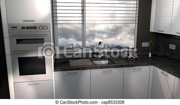 illustration de 3d moderne cuisine conception fait utilisation cao csp8533308. Black Bedroom Furniture Sets. Home Design Ideas