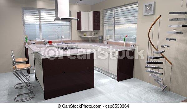 Tekening van gemaakt moderne ontwerp gebruik keuken for Keuken plannen in 3d