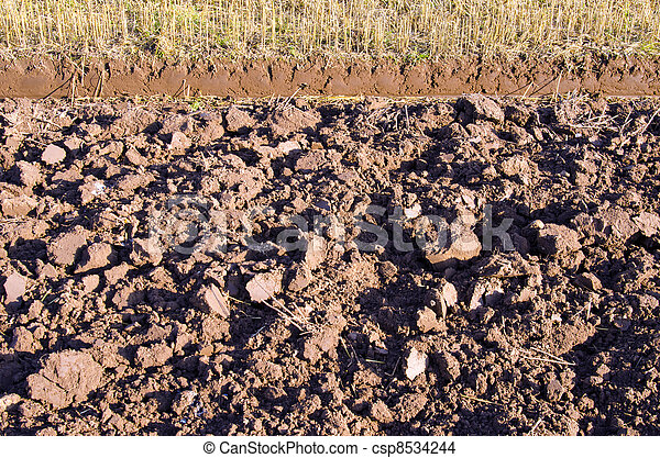Plowed agriculture field background  fertile land  - csp8534244