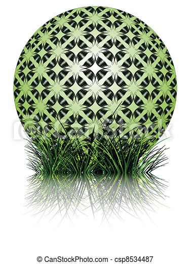 green bubble and grass reflected - csp8534487