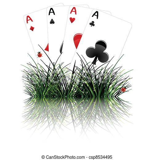 four aces behind grass reflected - csp8534495