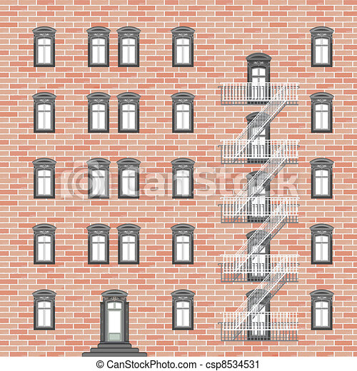 house with emergency ladder - csp8534531