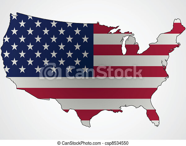 us flag and map abstract - csp8534550