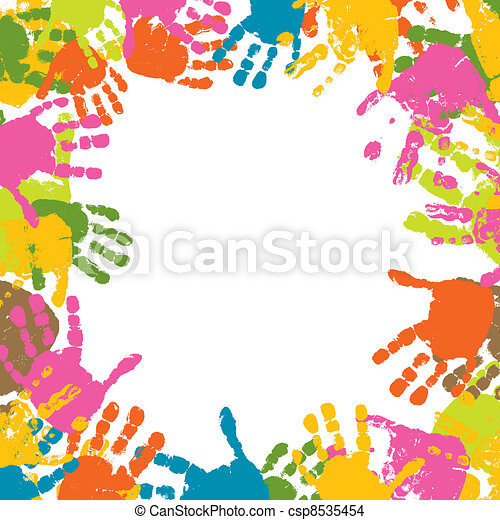 Abstract background, prints of hands of the child, vector - csp8535454
