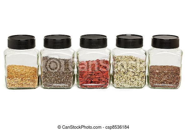 flax, chia, hemp seeds and goji - csp8536184