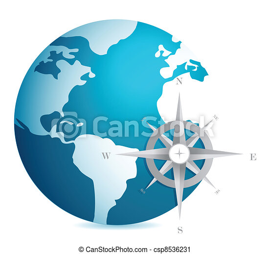 World globe illustration compass - csp8536231
