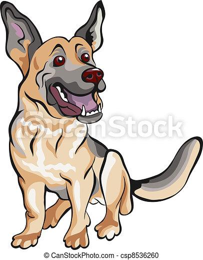 vector cartoon dog German shepherd breed - csp8536260