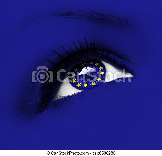 blue eye with european union flag - csp8536280