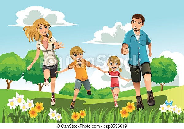 Family running in park - csp8536619