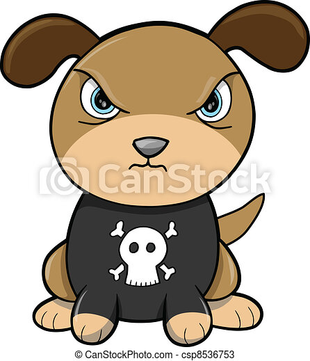 Tough Puppy Dog Animal Vector - csp8536753