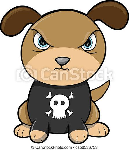 Tough Puppy Dog Animal Vector - csp8536753