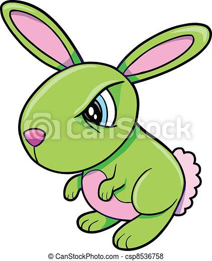 Toxic Angry Green Bunny Rabbit  - csp8536758