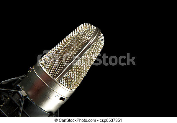 Vocal Mic on Stand Music Recording & performance concept. - csp8537351