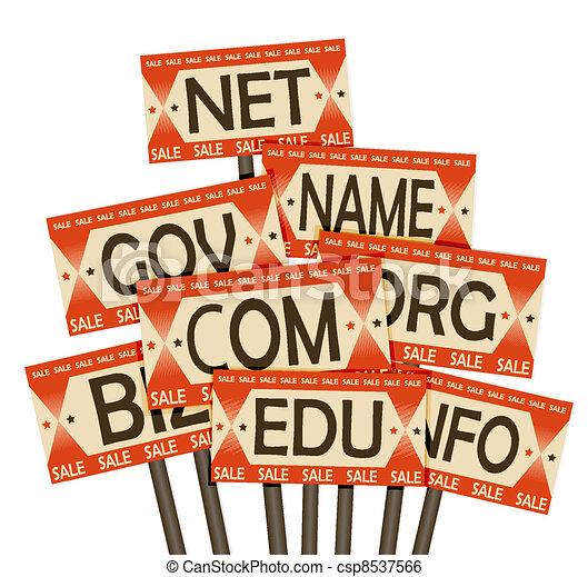 Domain names sale. Retro poster - csp8537566