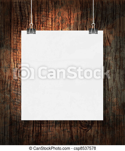 Blank on the paper clips. On dark grunge background. - csp8537578