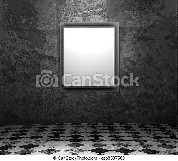 picture frame in grunge empty interior - csp8537583