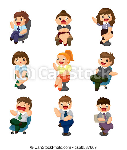cartoon happy office workers icon - csp8537667