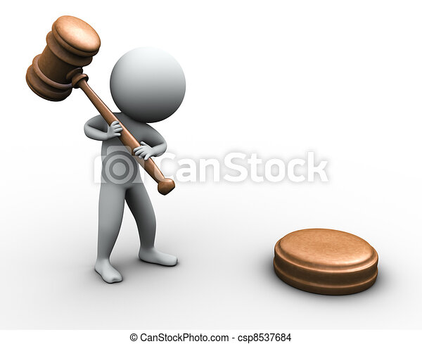 3d man with gavel - csp8537684