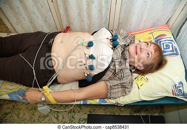 Female patient during ECG  procedure  - csp8538431