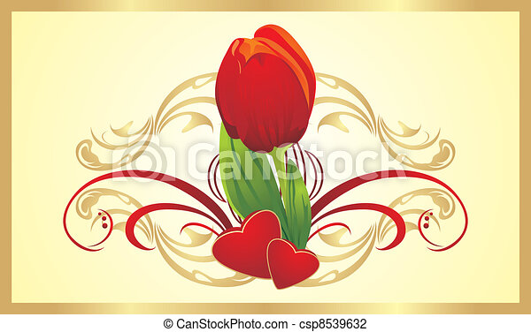 tulip in a heart card vector illustration of tulip hearts and ornament card 7267