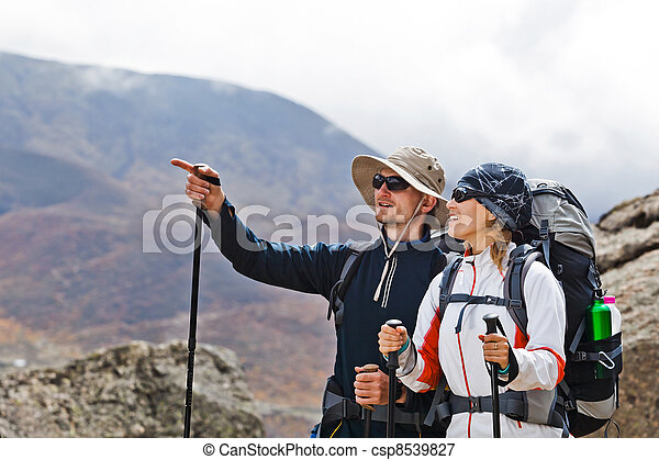 Couple Hiking in Himalaya Mountains - csp8539827