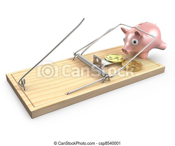 Piggy bank caugt in a mouse trap - csp8540001
