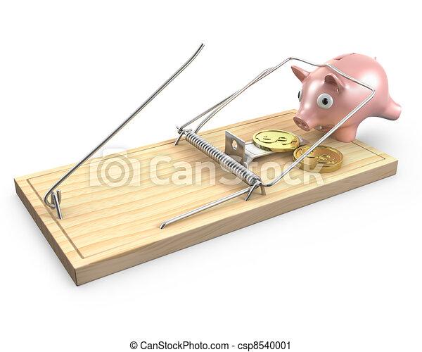 clipart von caugt maus schweinchen bank falle schweinchen bank csp8540001 suchen. Black Bedroom Furniture Sets. Home Design Ideas