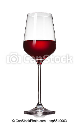 Red wine in glass isolated on white - csp8540063