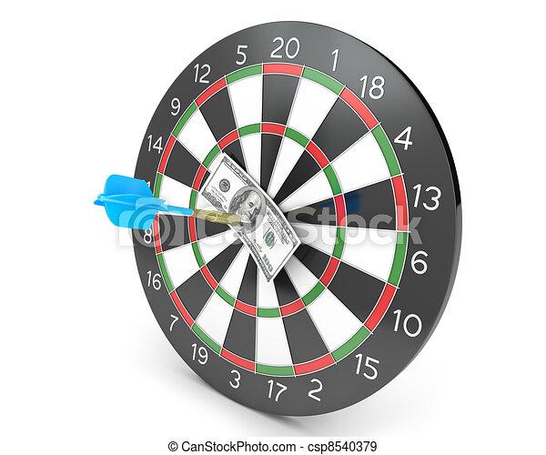 Dart hit hunderd dollars on a board - csp8540379