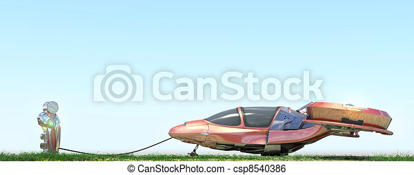 Futuristic flying car at gas station - csp8540386